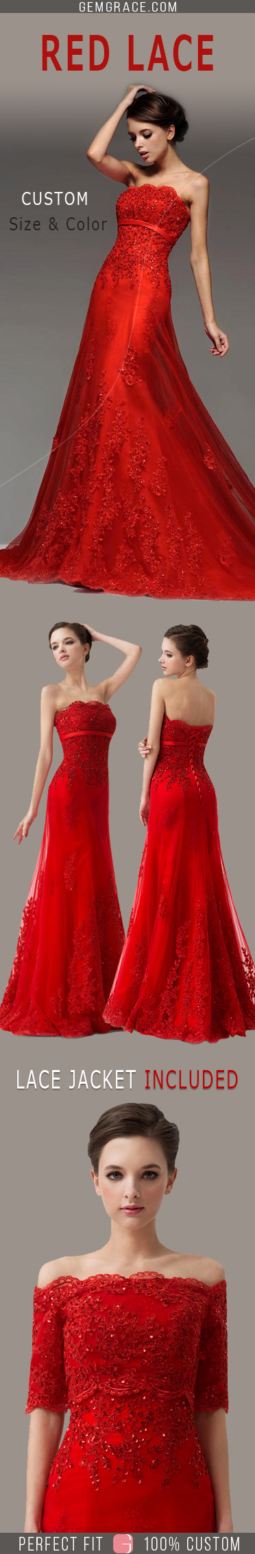 Red Sequin Lace Wedding Dress