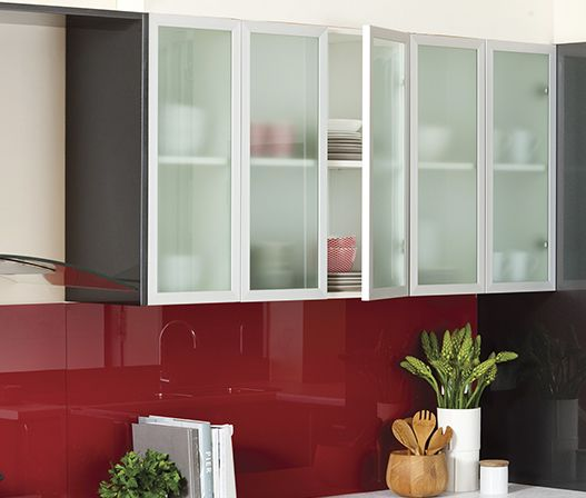 Frosted Glass Door | kaboodle kitchen | Frosted glass door ...