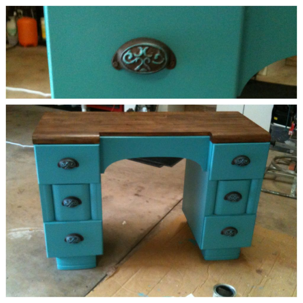 Refinish Furniture Ideas: Turquoise Refinished Desk. Painted Stained Refurbished Two