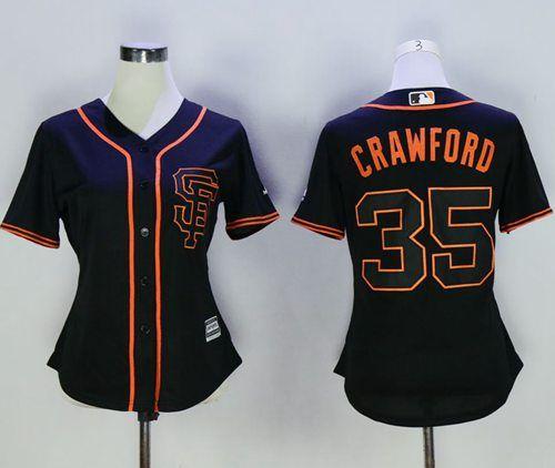 sale retailer a52e5 83e60 Giants #35 Brandon Crawford Black Alternate Women's Stitched ...