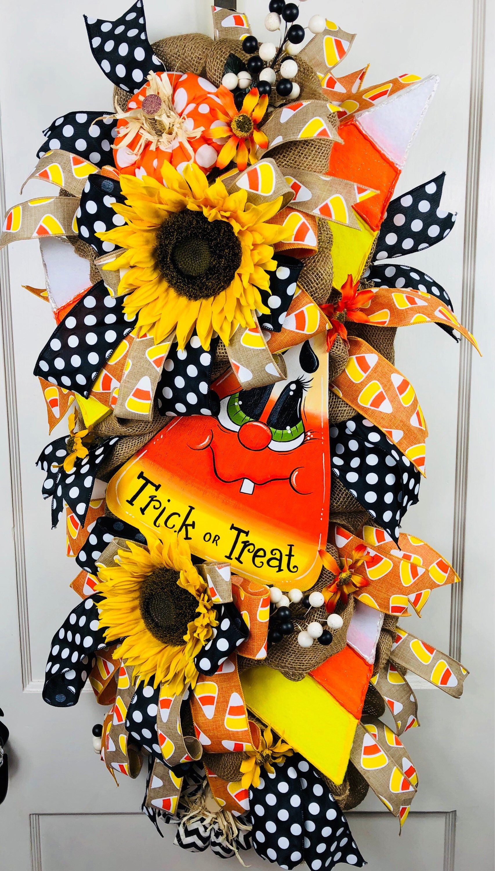 Halloween Door Swag, Halloween Door Decor, Trick Or Treat Sign, Fall - whimsical halloween decorations