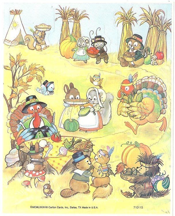 Vtg Carlton Cards Thanksgiving Stickers Woodland Animals | eBay