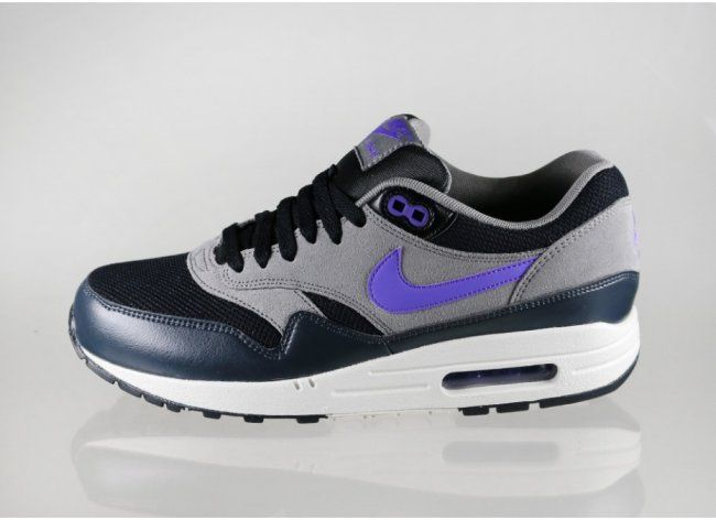 new product e424b 3cbfb Nike Air Max 1 Essential – Black   Hyper Grape-Light Ash Grey