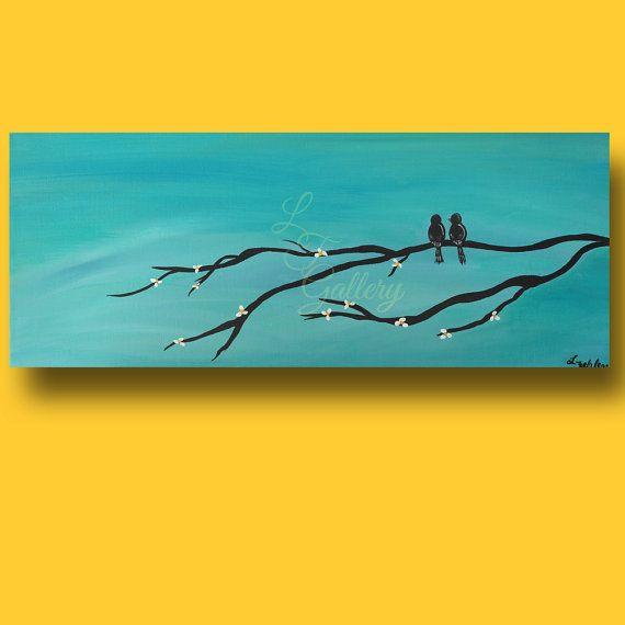 Original Acrylic Painting Canvas Wall Art Love Birds in Tree Teal ...