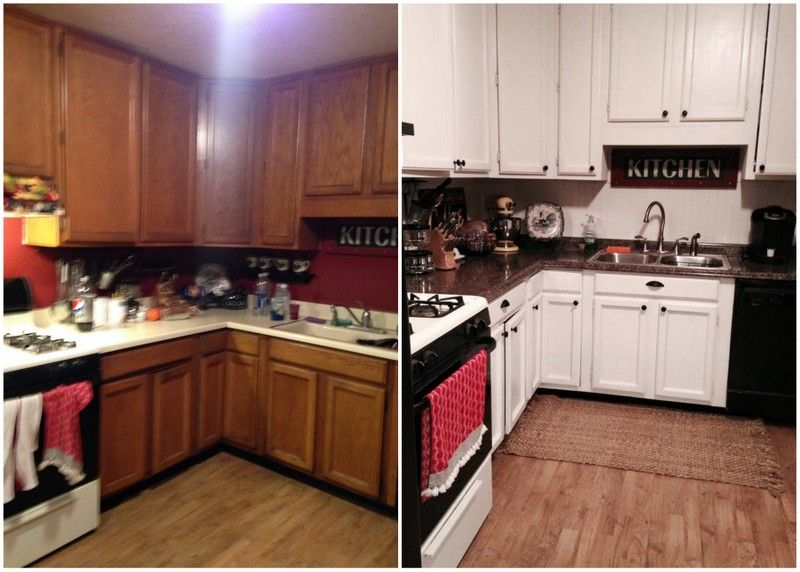 Best Before After Outdated Builder Grade Oak Cabinets 400 x 300