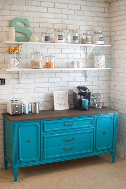 Repisas de madera expuestas para la cocina y quitar los gabinetes ...