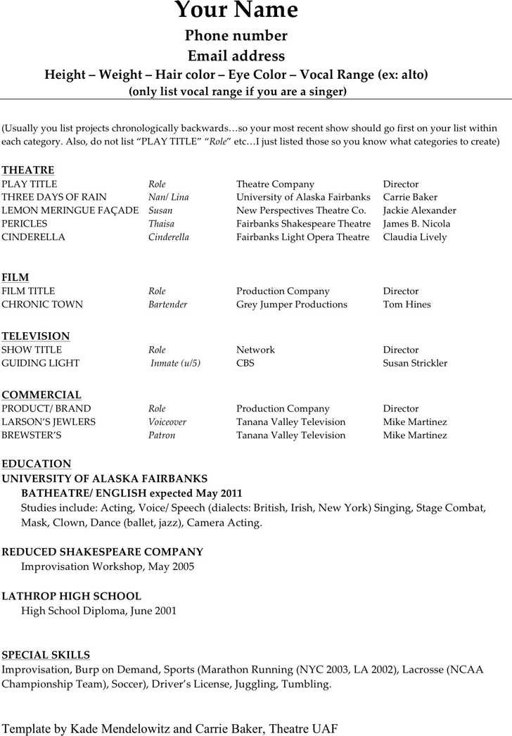 Actor Resume Format Custom Acting Resume Template 1  Acting  Pinterest  Acting Resume Template