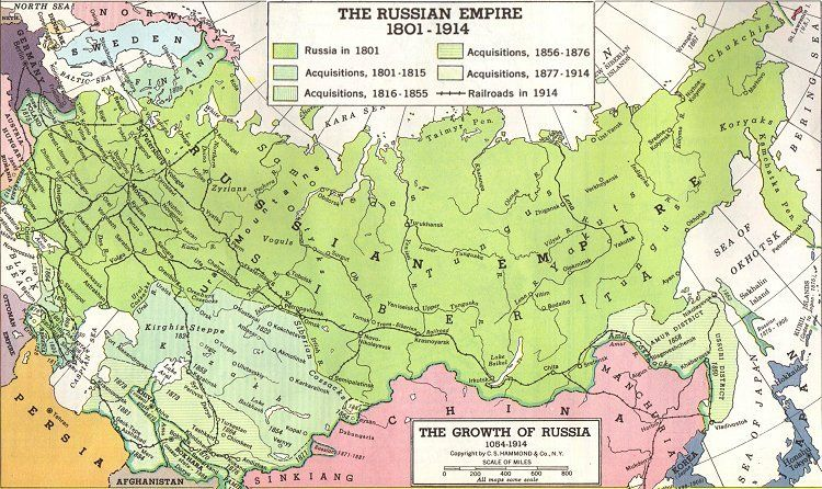 Map of Russian Expansion 1800 1900 | AUSTROHUNGARIAN EMPIRE | Tsar