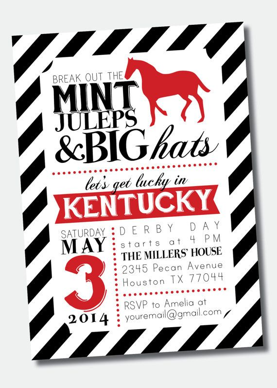Customizable Kentucky Derby Party Invitation by SweetGreetsDesigns – Derby Party Invitations