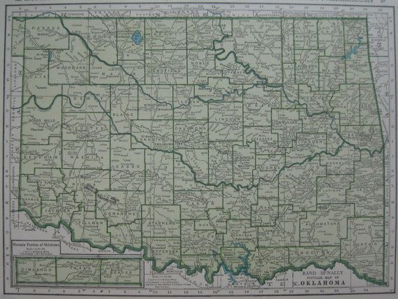 Vintage OKLAHOMA Map of Oklahoma State Map 1945 by plaindealing