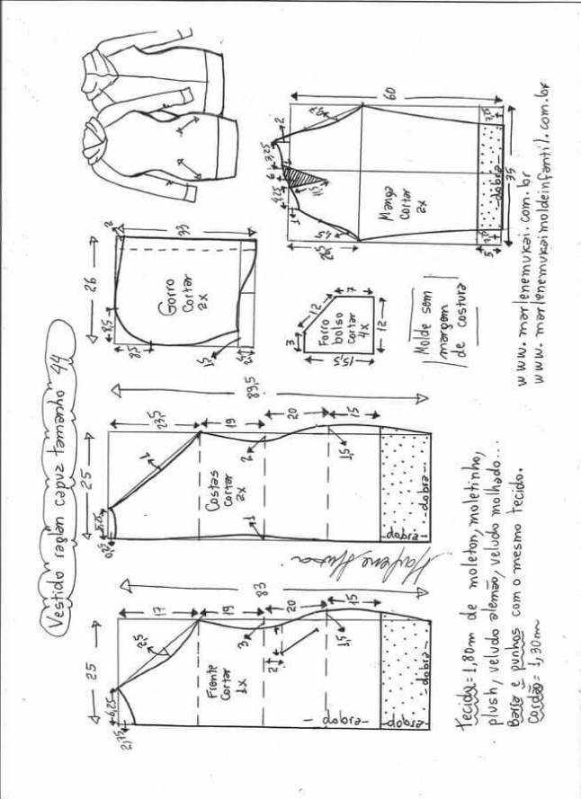 Vestido con manga y capucha | vestidos | Sewing, Sewing patterns y ...