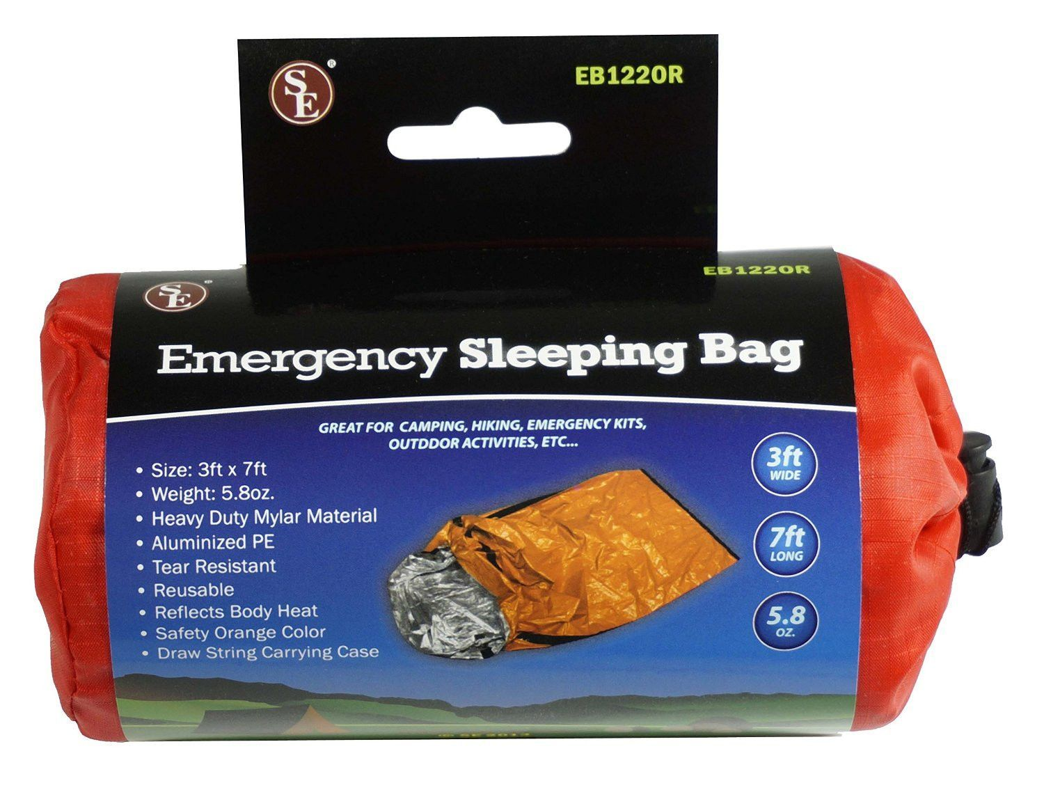 Emergency Sleeping Bag With Drawstring Carrying Camping