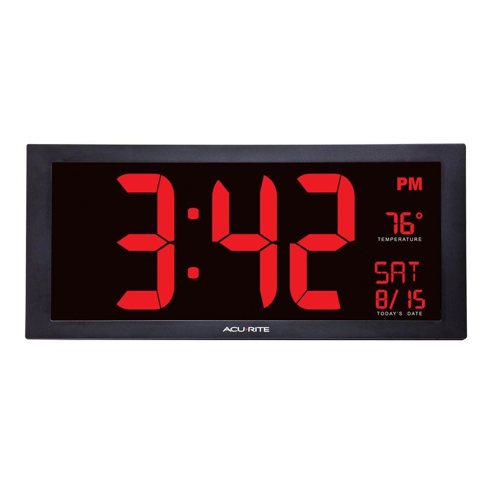 AcuRite 18 in. Large LED Clock with Indoor Temperature-75100MA1 - The Home Depot