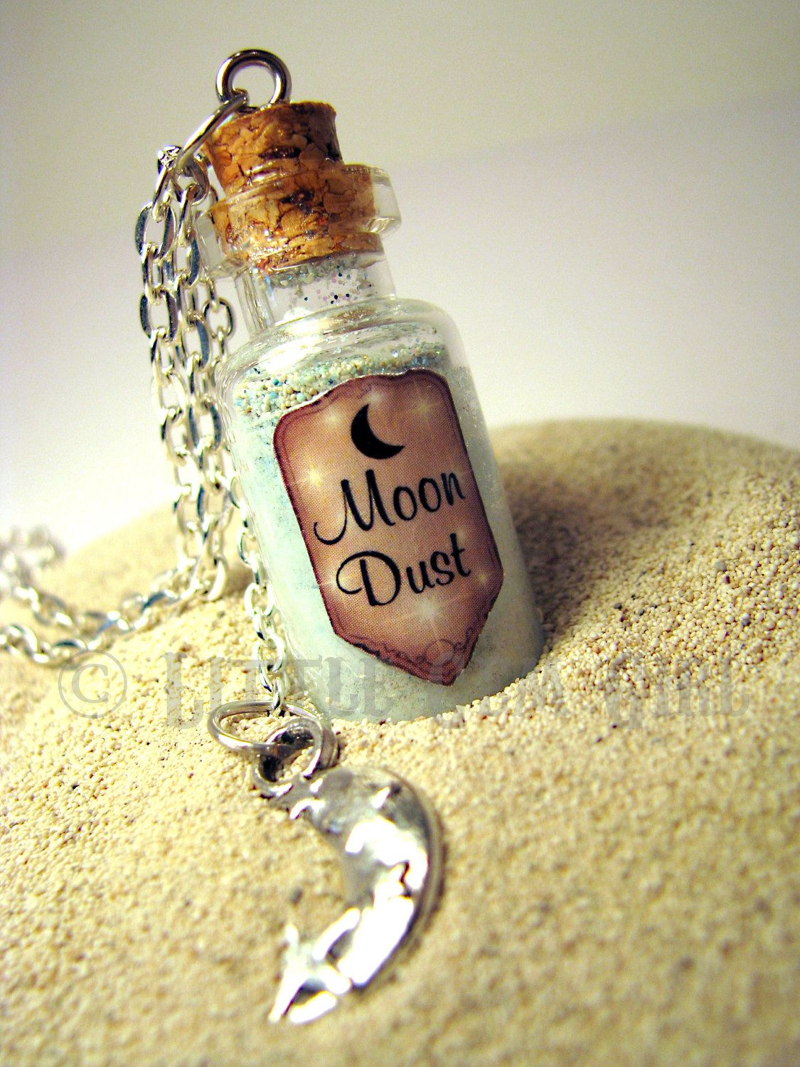 Moon Dust Glass Bottle Necklace Glow in the Dark Space Halloween Space Charm