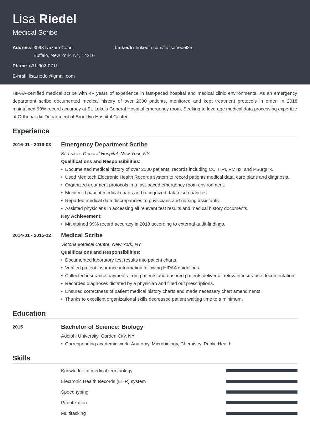 medical scribe resume example template influx in 2020