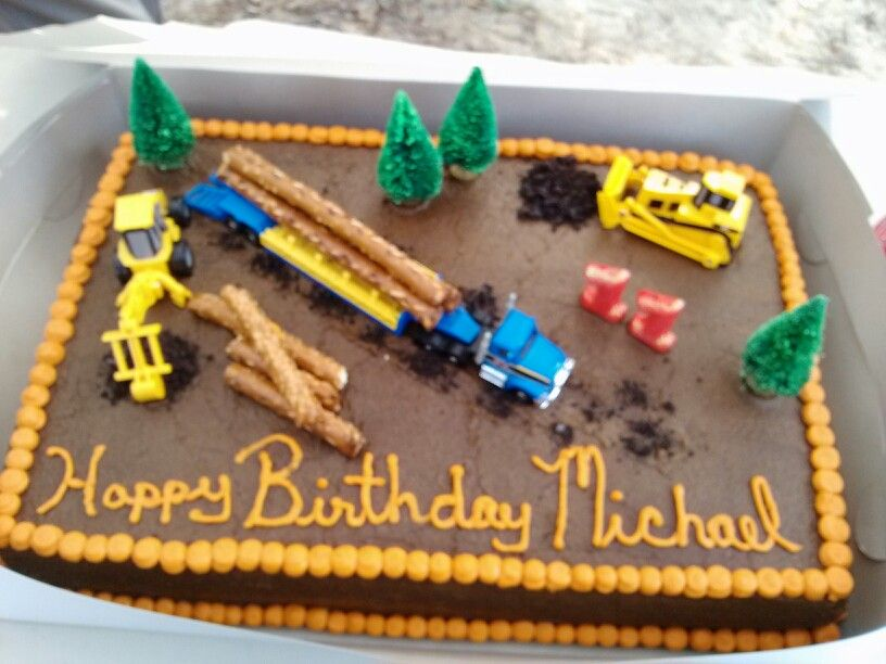 Awesome Log Truck Birthday Cake For My Little Brother With Images Funny Birthday Cards Online Fluifree Goldxyz