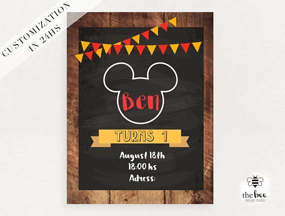 Tarjeta De Invitación De Mickey Mouse Mickey Cumpleaños Invitaciones Mickey Invitación De Mickey Mouse Tarjetas De Invitación