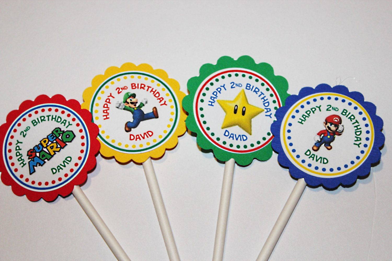 Super Mario bros Birthday Party cupcake toppers, Super Mario cupcakw ...