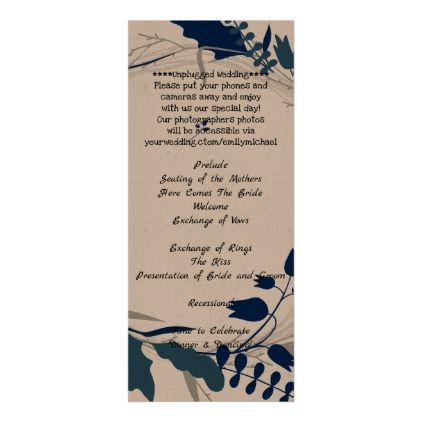Blue Leaves Rustic Wedding Program Template Kraft  Simple Clear