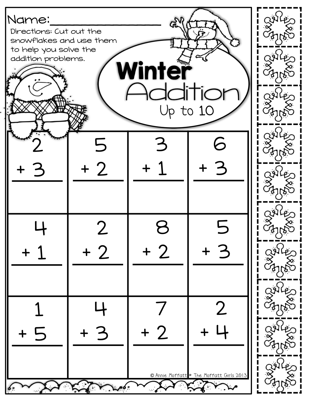 simple addition up to 10 with built in snowflake manipulatives kindergarten activities. Black Bedroom Furniture Sets. Home Design Ideas