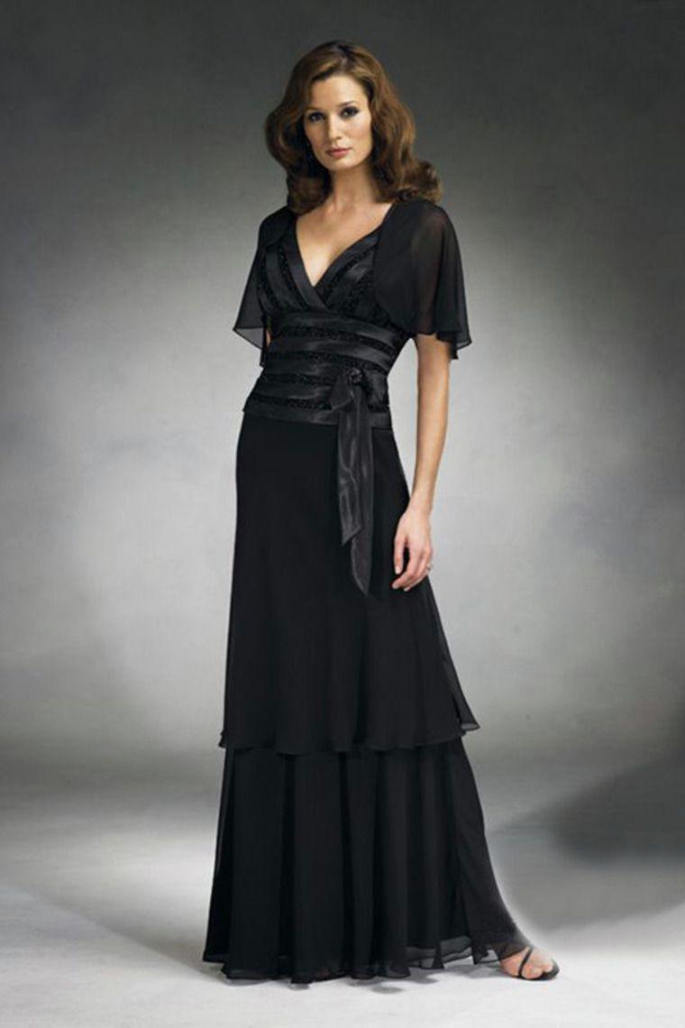 Buy Floor Length V Neck Black Mother Of The Bride Dresses Under 200 PYXGYEKP On line
