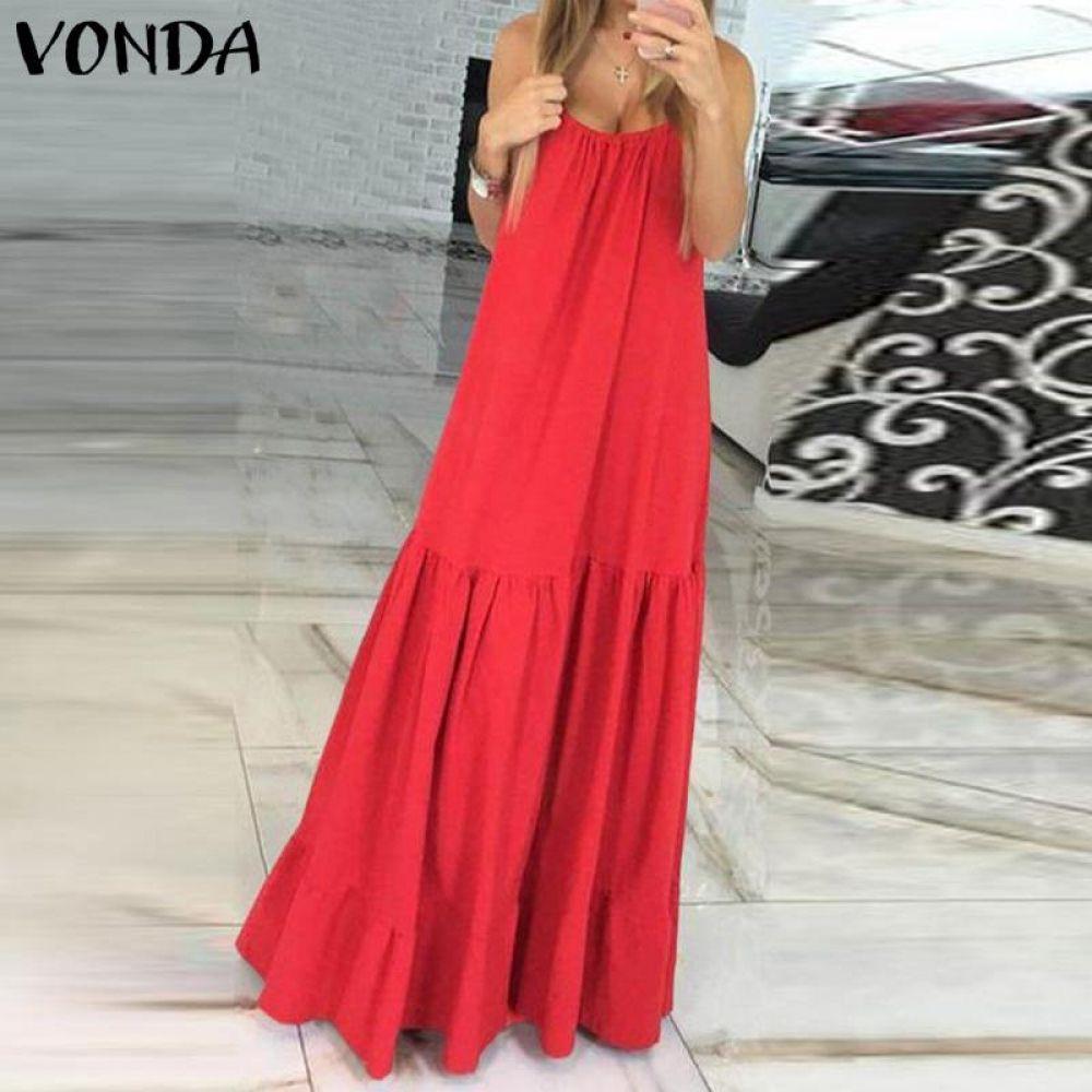 VONDA Bohemian Vestido Mujer 2019 verano Sexy sin mangas Spaghetti Strap volantes columpios Maxi vestidos largos vacaciones Vestido talla grande