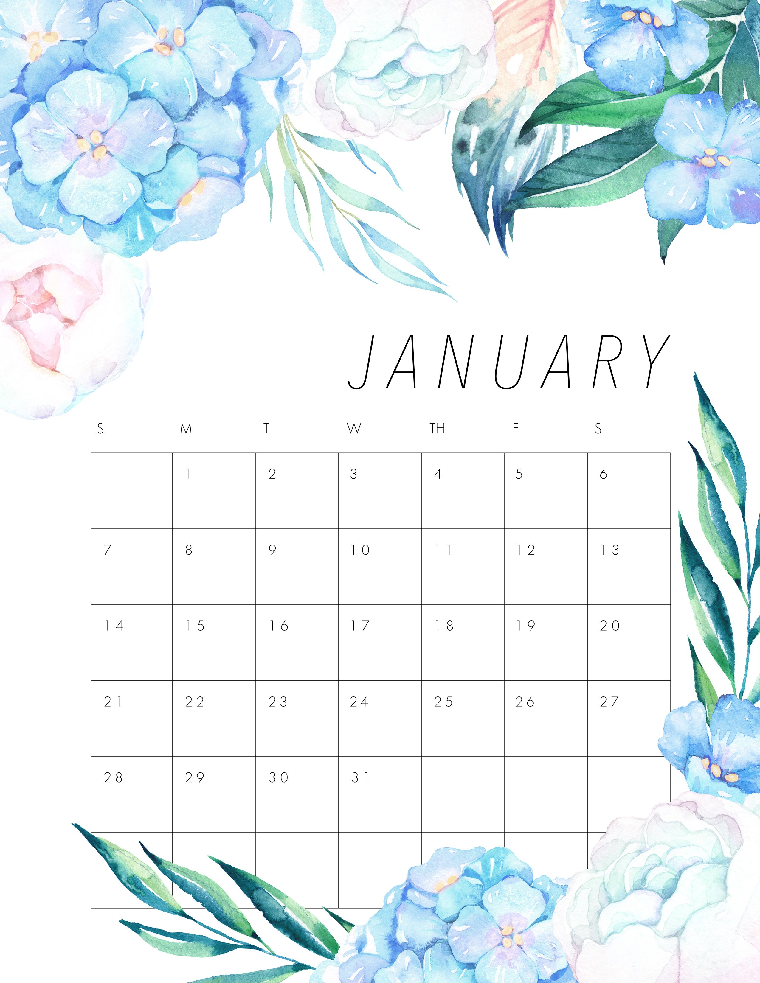 It's Time For Your Free Printable 2018 Floral Calendar. Fill The Year Of  2018 With