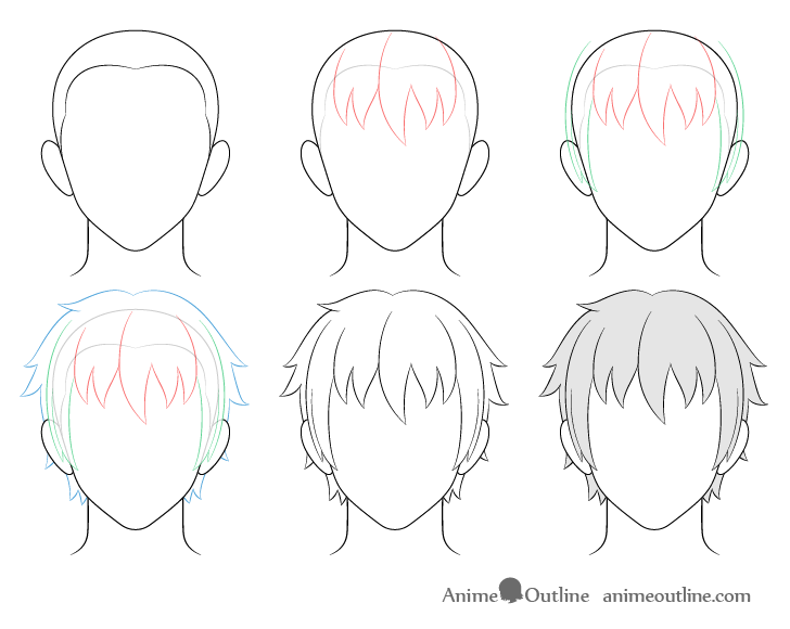 How To Draw Anime Male Hair Step By Step Animeoutline In 2020 Drawing Hair Tutorial Anime Drawings Drawing Male Hair