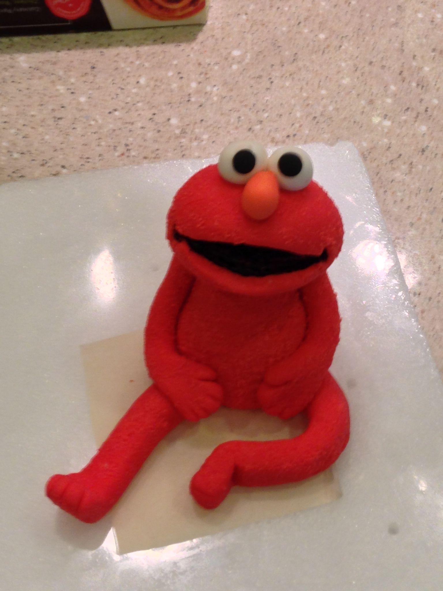 Elmo from sesame street fondant and gum paste cake topper