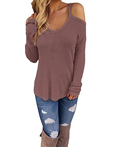 be79e687e5cec4 Cnfio Women s Cold Open Shoulder Tops Shirts V Neck Long Sleeve Tee Knitted  Blouses
