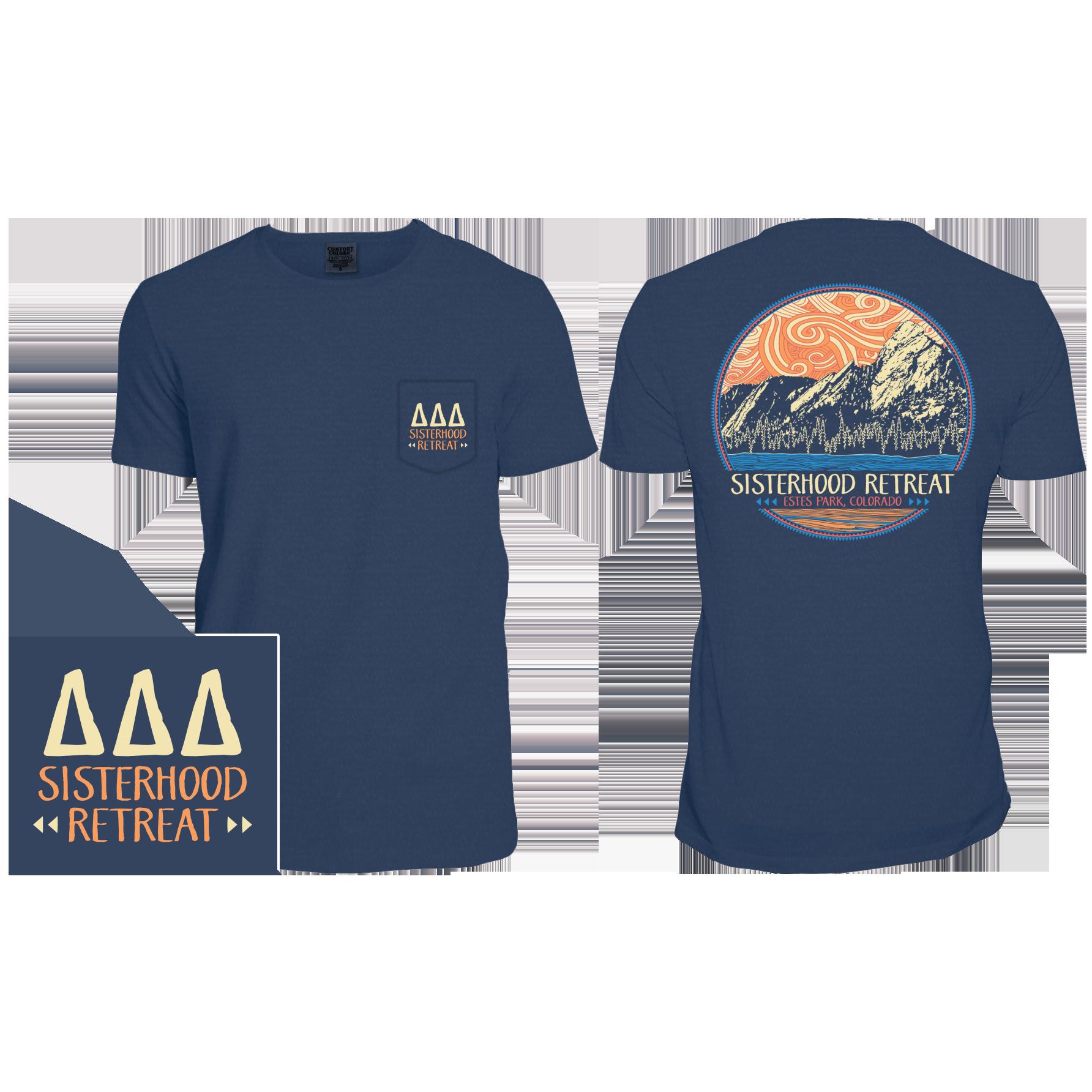 Design t shirt comfort colors - Tri Delta Comfort Colors Sisterhood Retreat Custom Mountain Design By Cornerstone Impressions All Designs Can