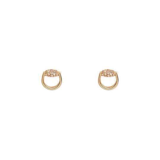 4b954fa25 Horsebit stud earrings in yellow gold and brown diamonds - Gucci Fine  Jewelry For Women 390902J85638065