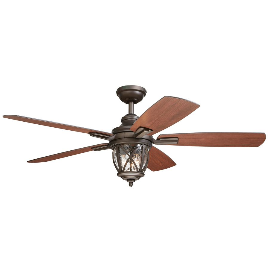 Allen Roth Castine 52 In Rubbed Bronze Downrod Or Close Mount Indoor Outdoor Ceiling Fan With Light Kit And Remote Control At Lowes