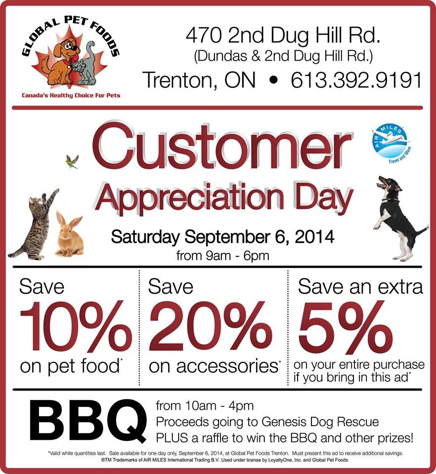The Global Pet Foods store in Trenton, Ontario is holding a Customer ...