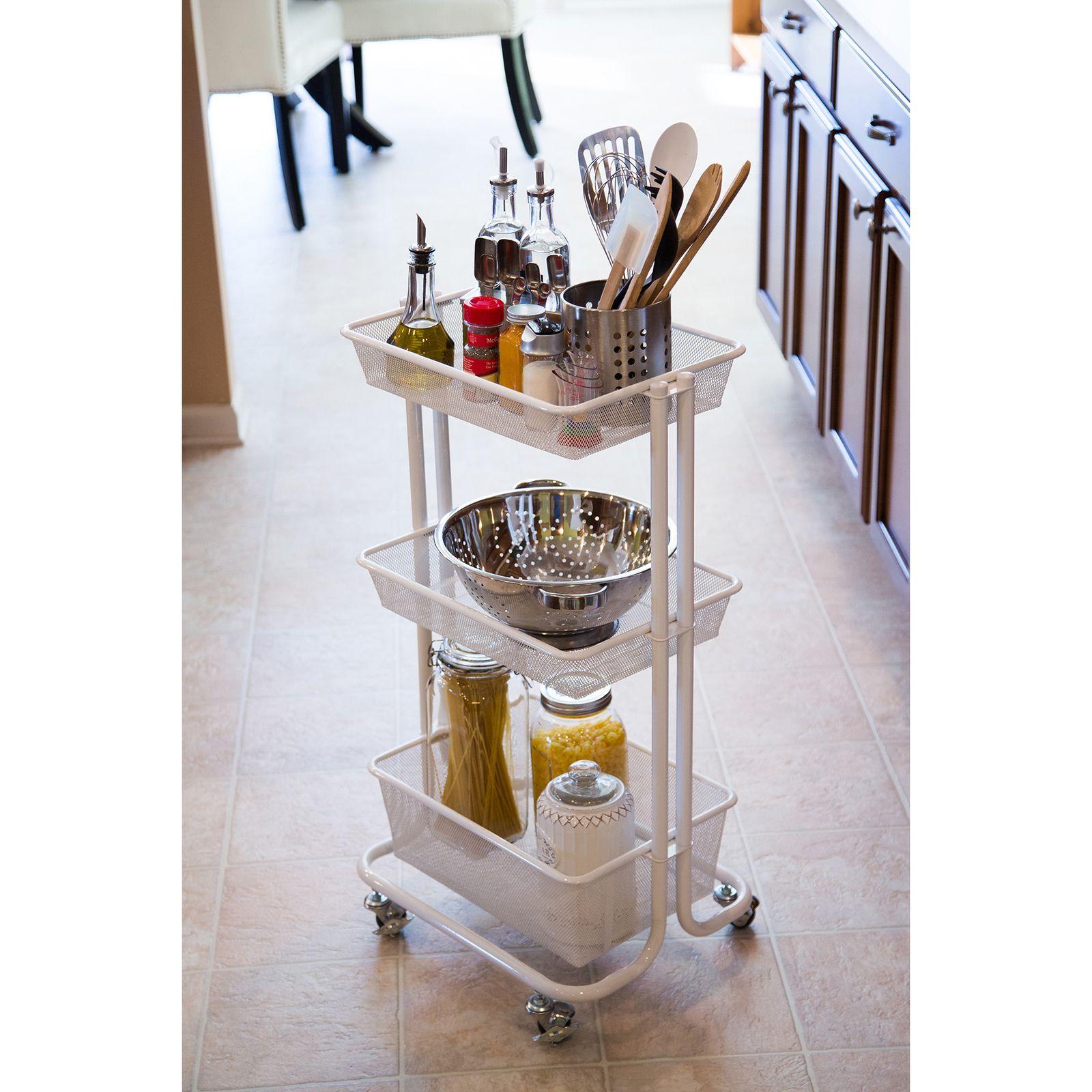 Product Information White Kitchen Utility Portable Storage Organizer ...