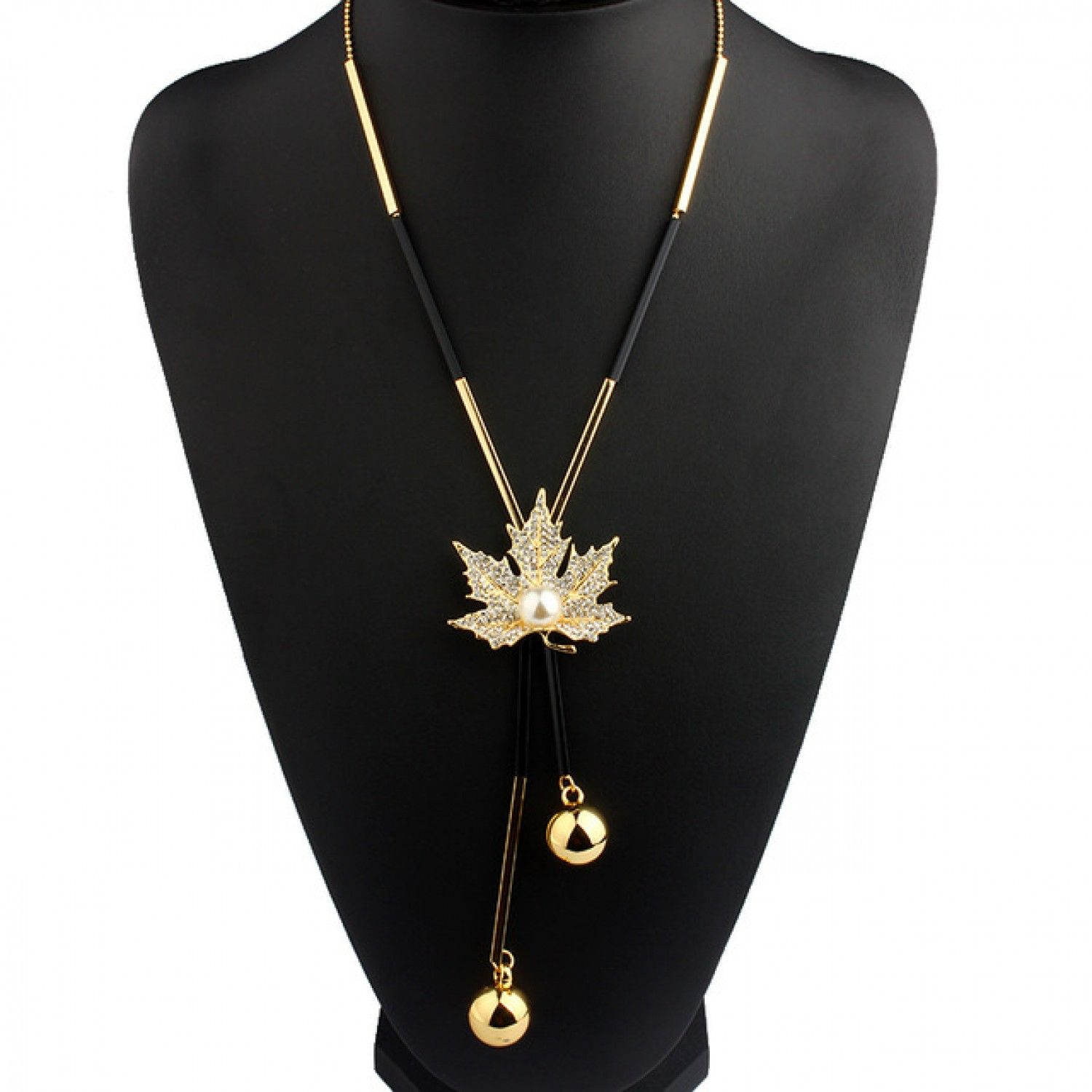 Lovely maple leaf long beaded chain tassel pendant necklace women