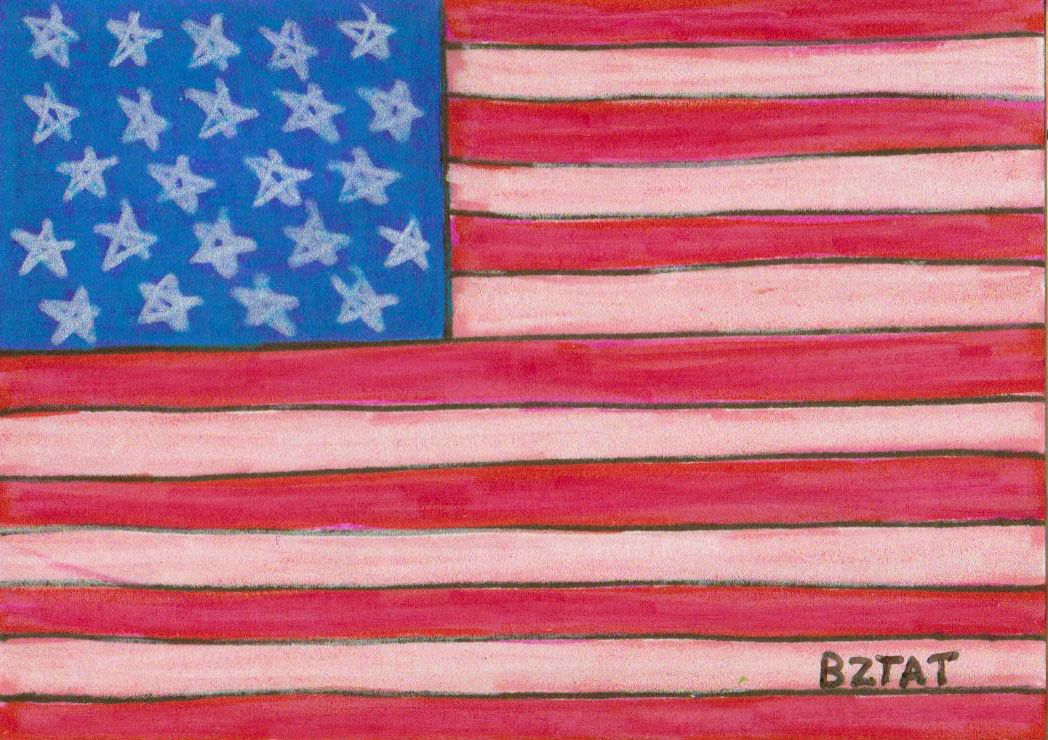 Aceo colored pencil drawing of an american flag 1500