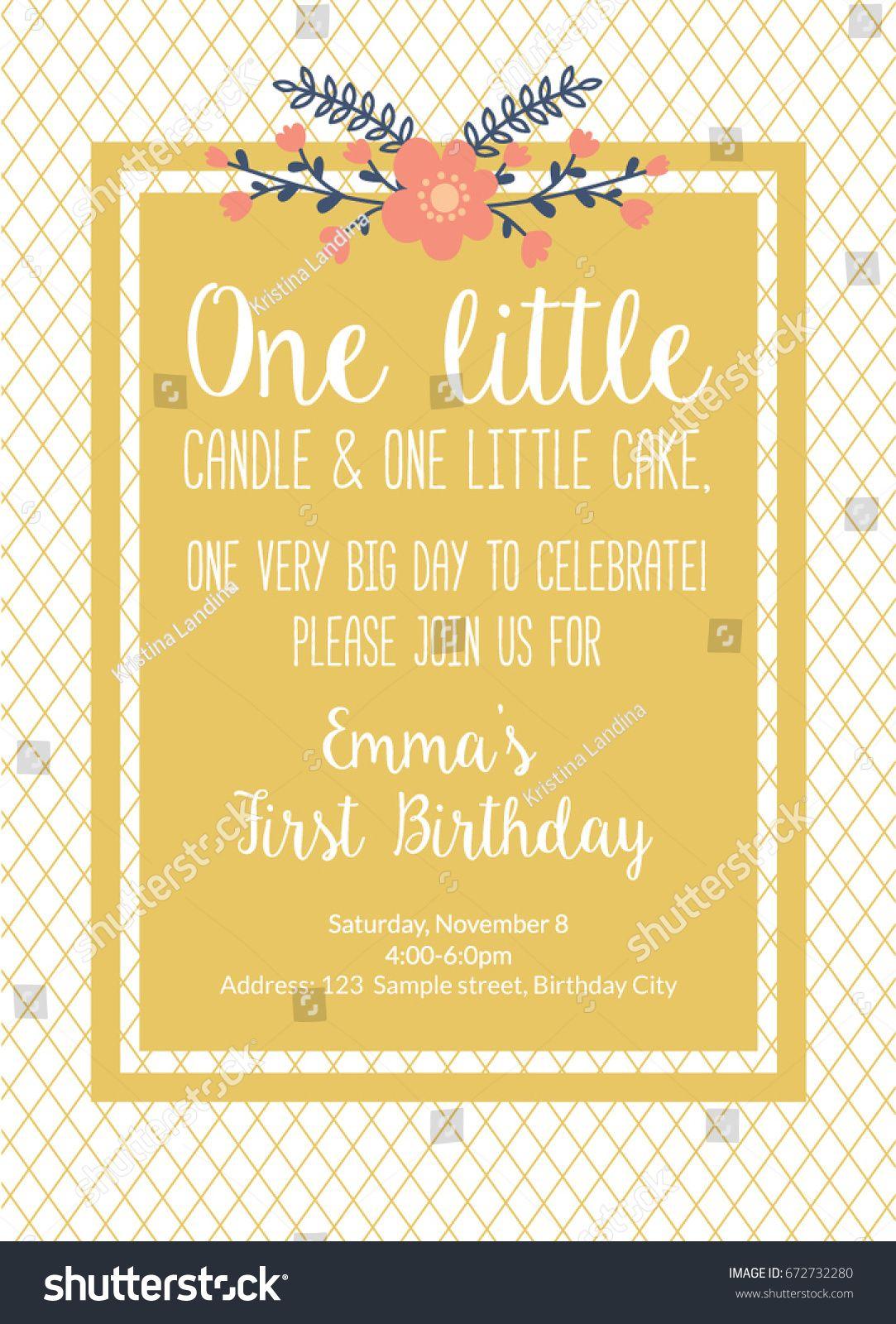 First Birthday Invitation Girl First Birthday Stock Vector Ideas 2019 Invitation Card Birthday First Birthday Invitations Birthday Invitations Girl