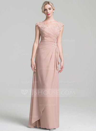 CHF 162.48  A-Linie Princess-Linie V-Ausschnitt Bodenlang Chiffon Kleid  für die Brautmutter mit Perlstickerei Pailletten Gestufte Rüschen 4172a0fcfc