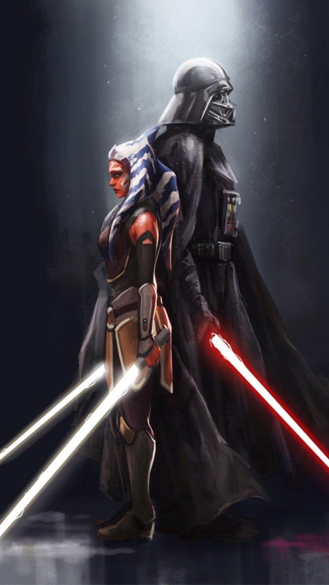 Wallpaper Phone Darth Vader And Ahsoka Full Hd Star Wars Ahsoka Star Wars Images Star Wars Pictures