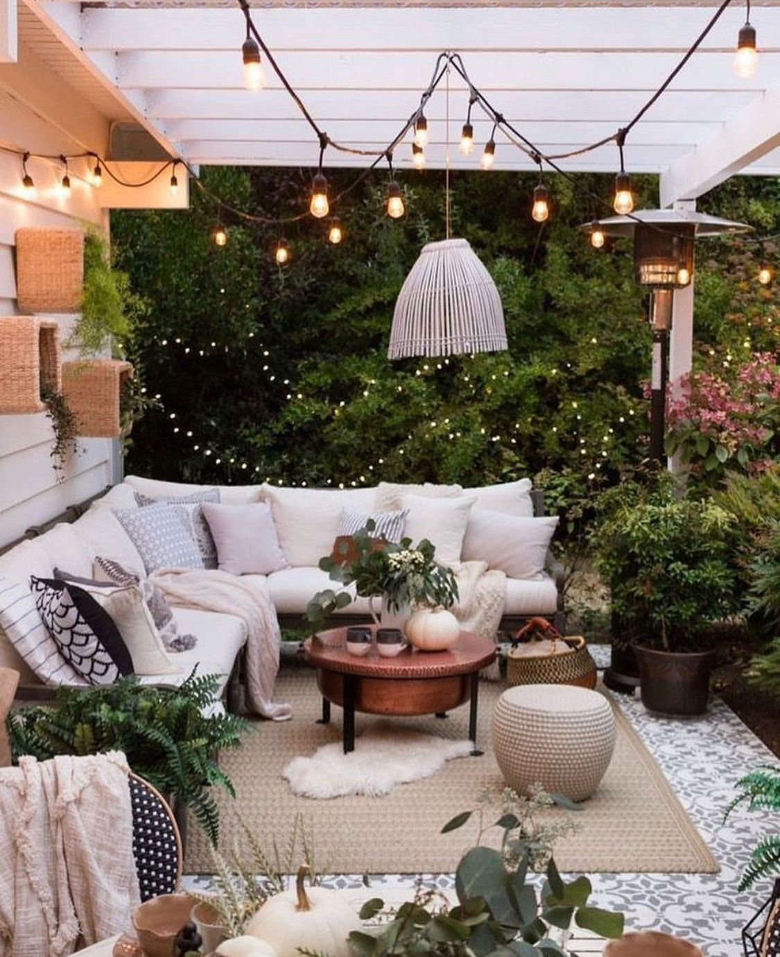 Cozy Bohemian Outdoor Patio Space Porch Area Decoration