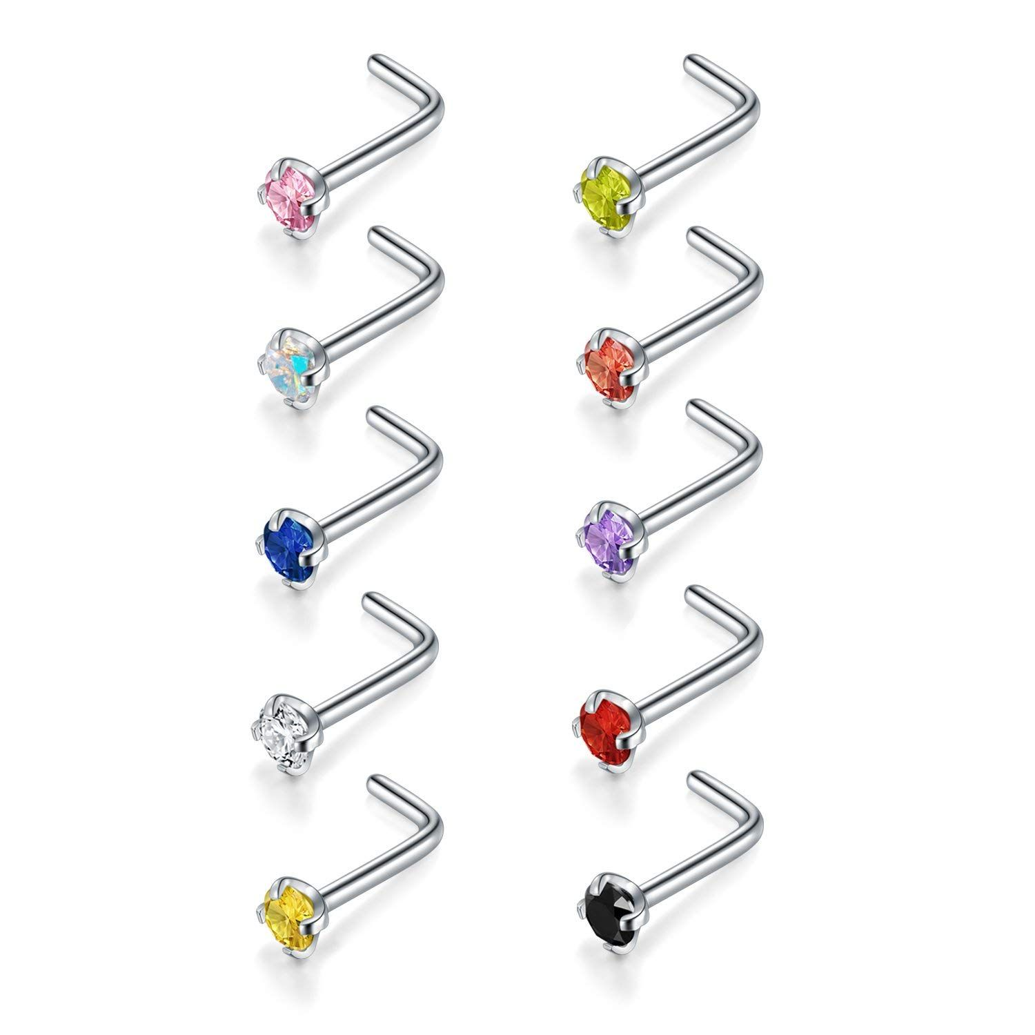 J hook nose piercing  QWALIT G LStainless Steel CZ Nose Rings Stud L Shaped Bend