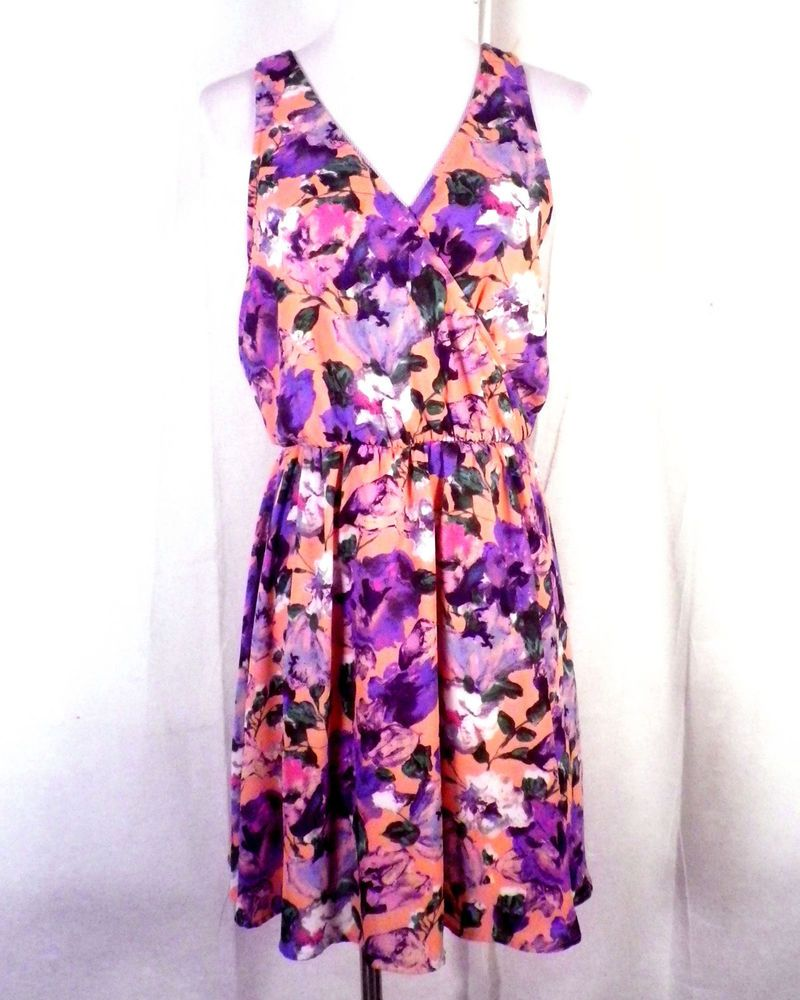 NWOT Lush Nordstrom Coral Floral/Cotton Pattern Dress Minidress ...