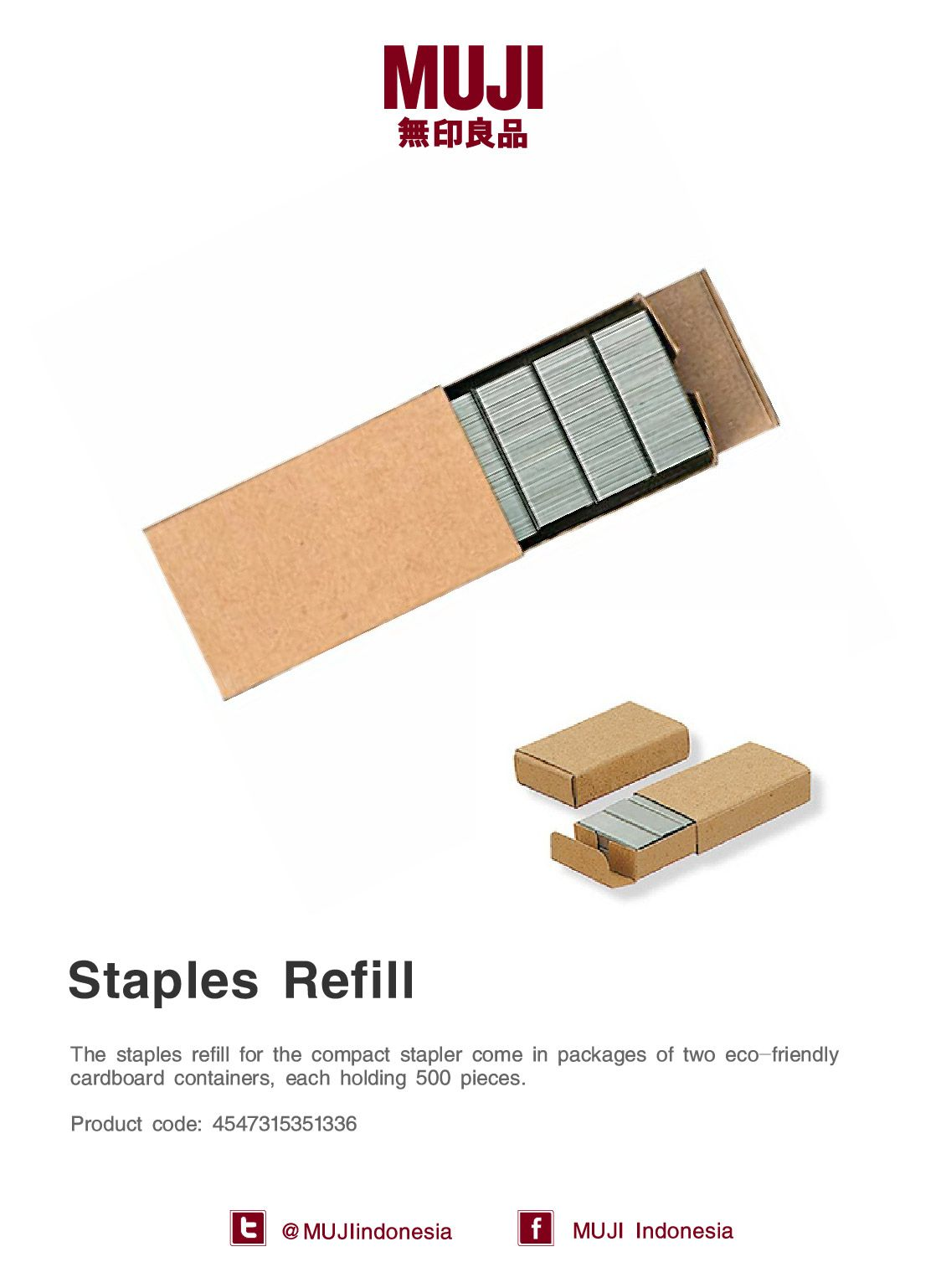 Muji Staples Refill For The Compact Stapler Come In Packages Of Two Eco Friendly Cardboard Containers Muji Packaging Refill