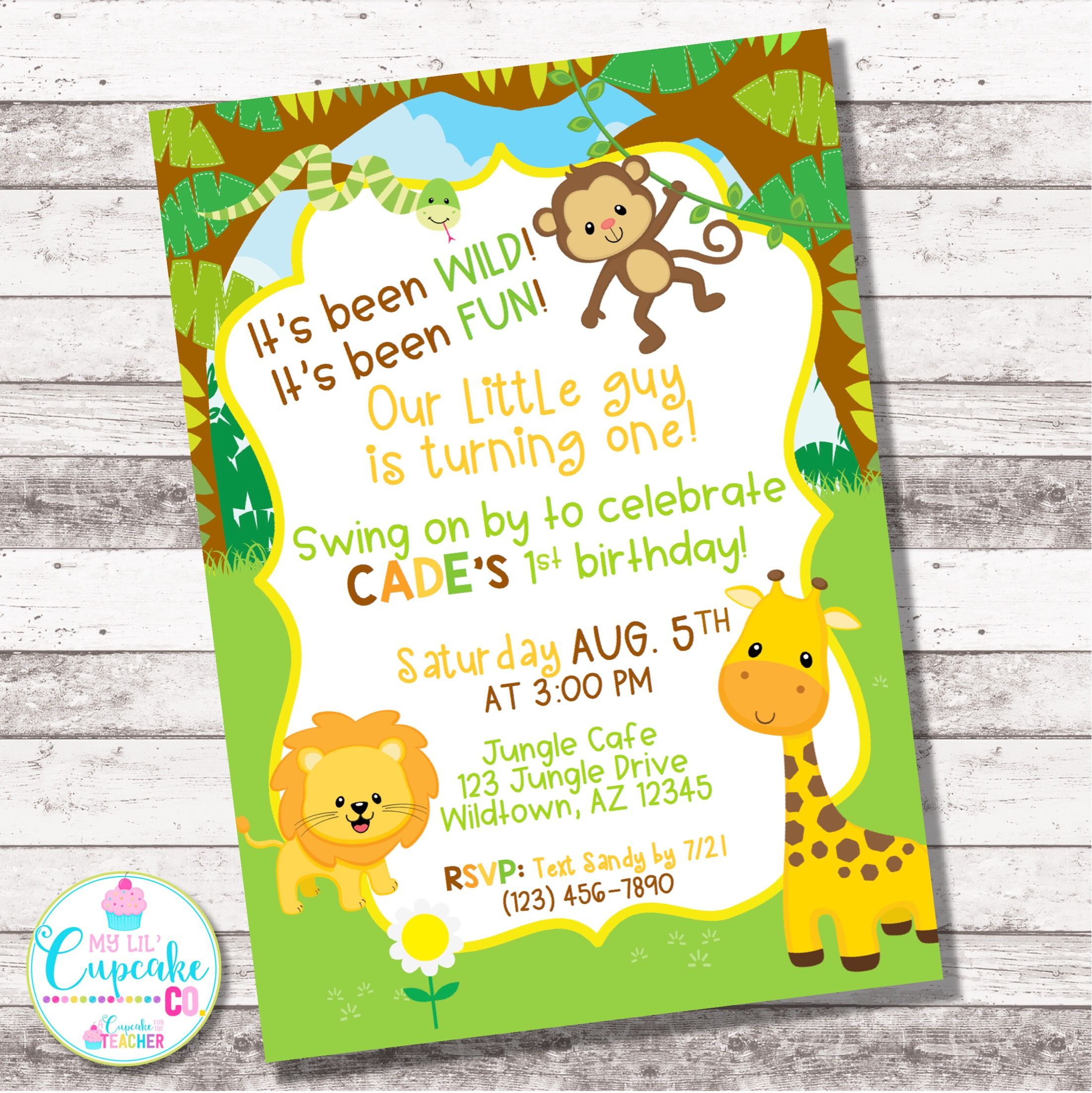 Jungle Birthday Invitation Any Age Safari Birthday Invite Etsy In 2021 Jungle Birthday Invitations Boy Birthday Invitations Safari Birthday