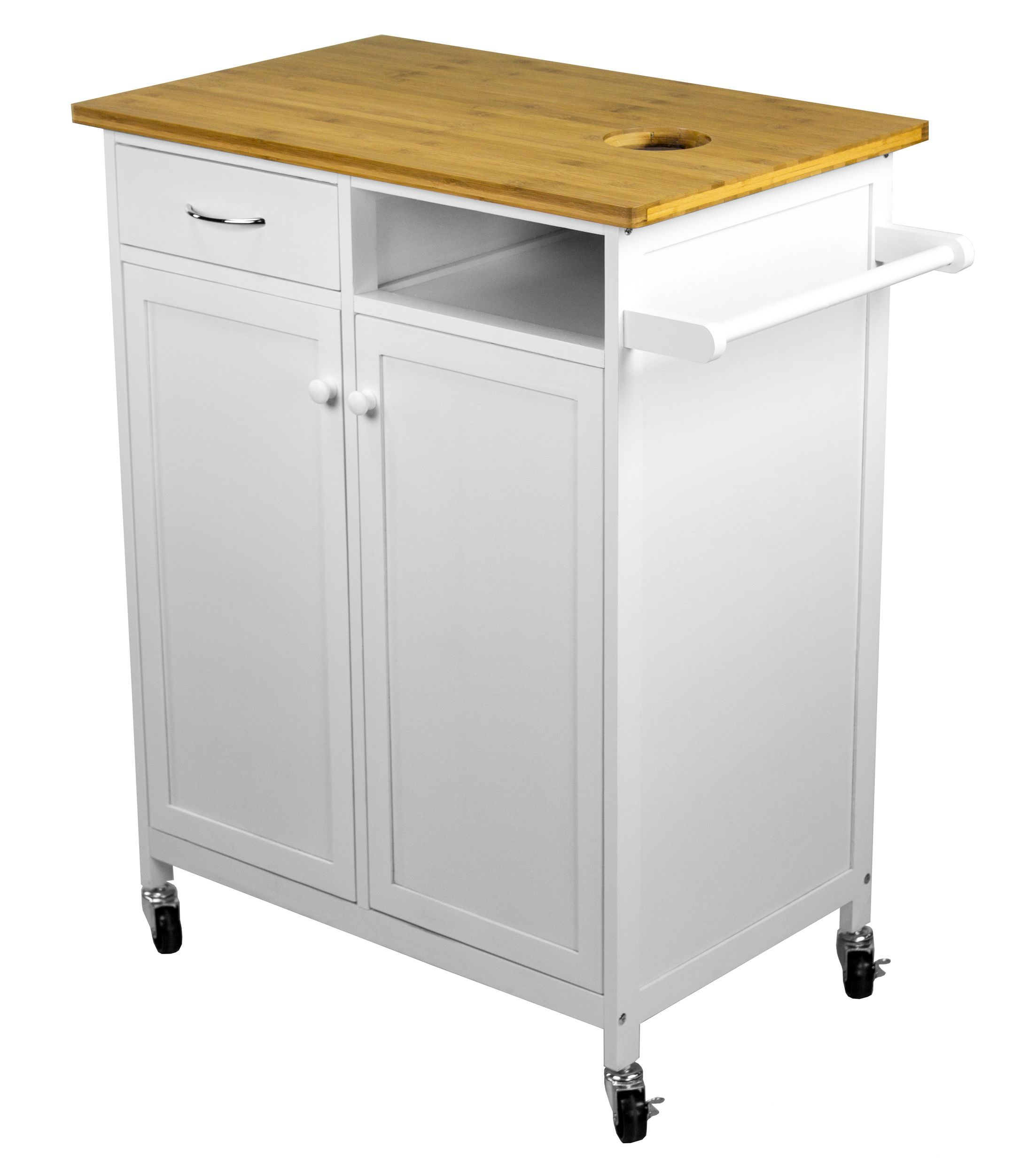 Nordic Sunrise Kitchen Cart with Butcher Block Top Dream Kitchen