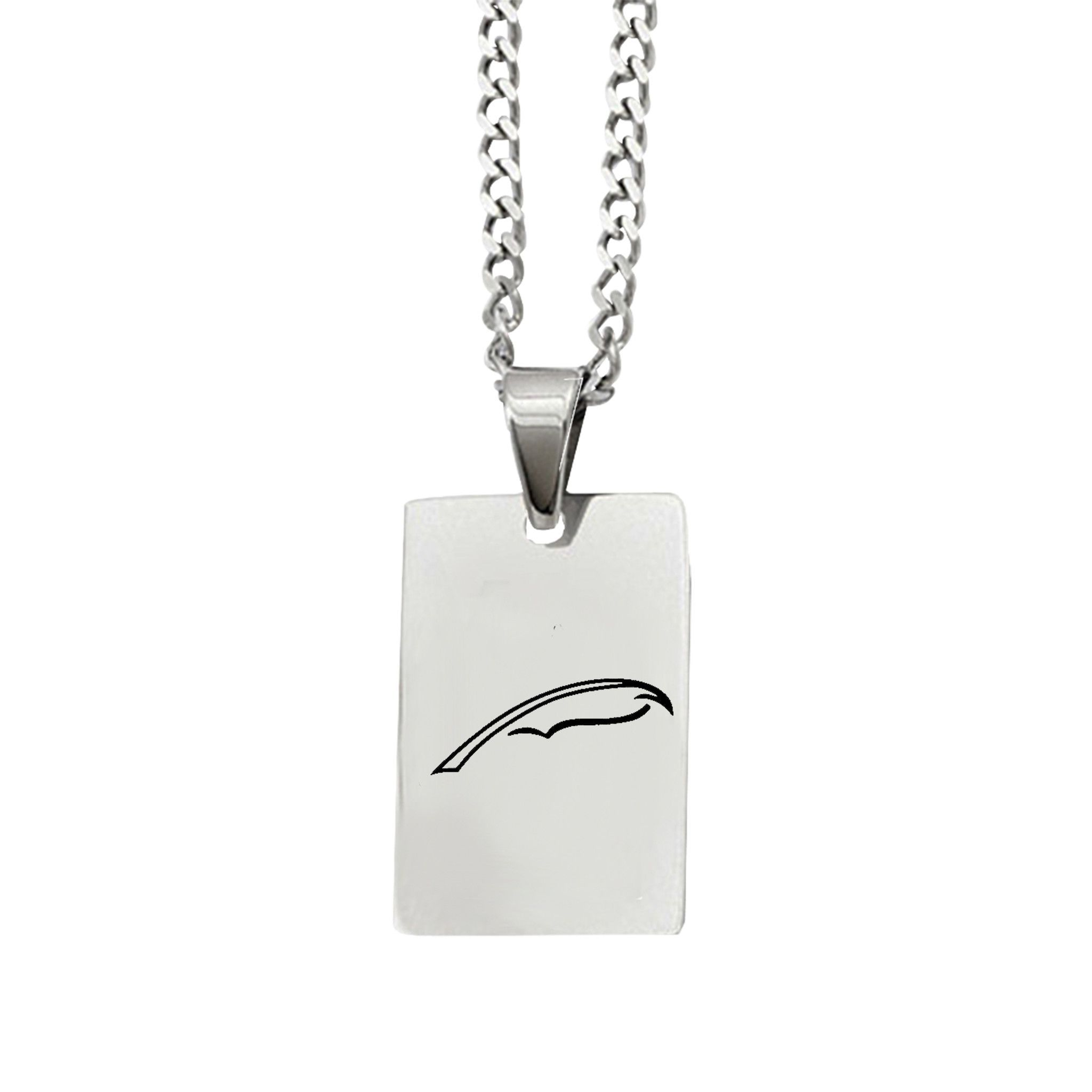 Alpha Xi Delta Symbol Rectangle Pendant Necklace In Stainless Steel