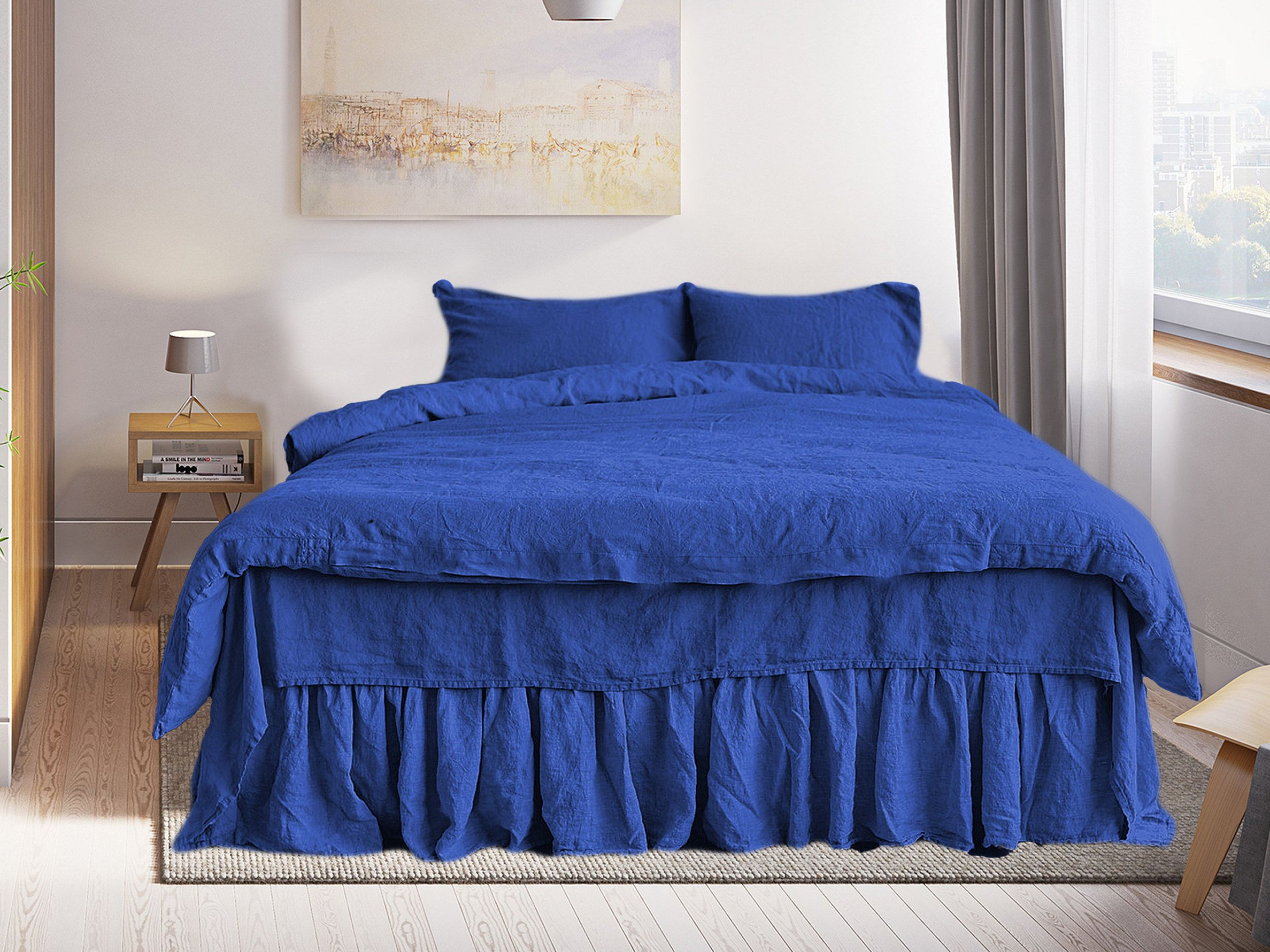 Duvet Cover set 3 items in Royal blue Soft Linen Bedding