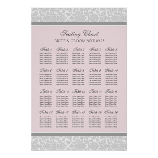 Seating Chart 20 Tables 120 Guest Pink Gray Damask Poster
