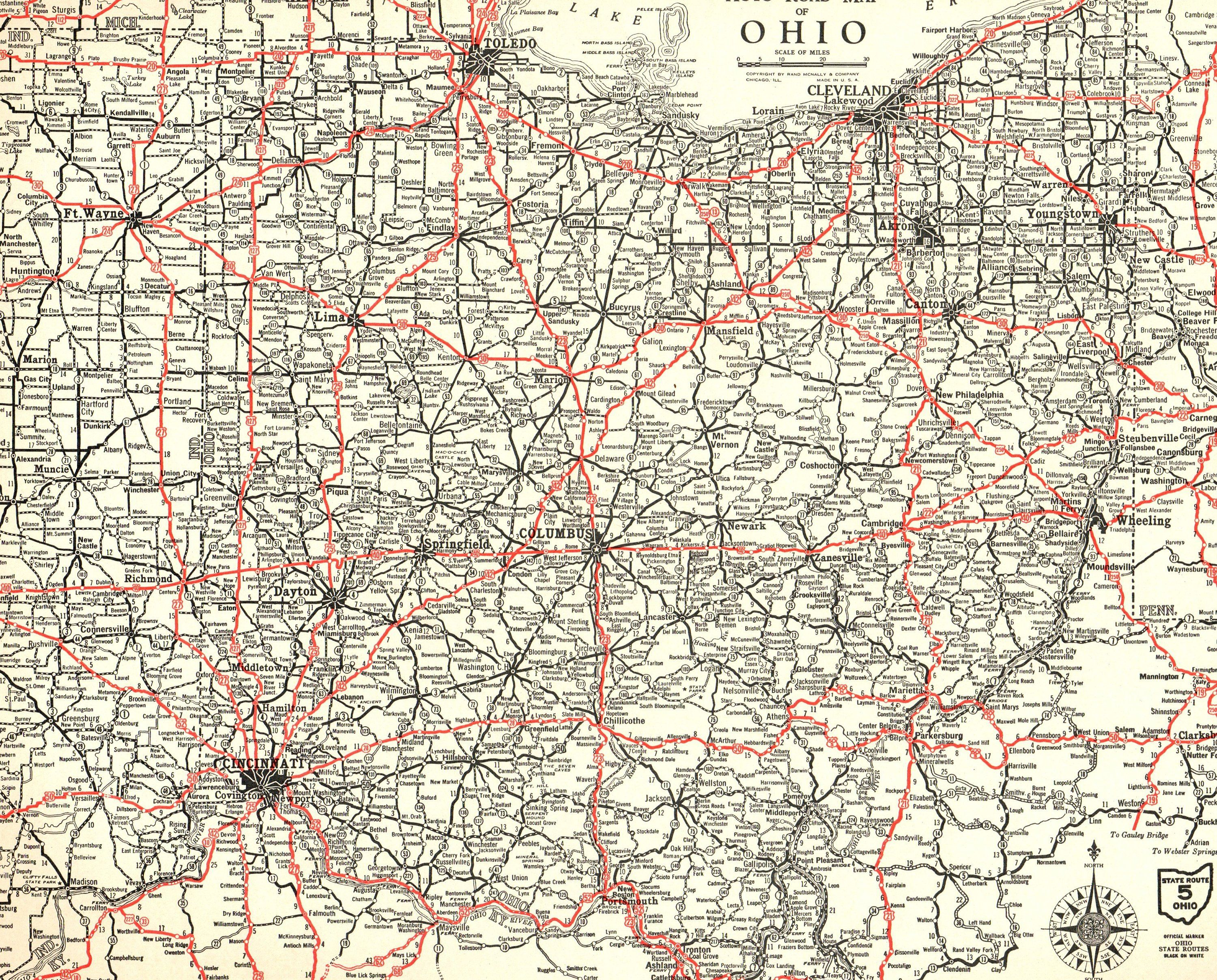 1932 Rare Size Antique OHIO Map of Ohio Poster Size AUTO